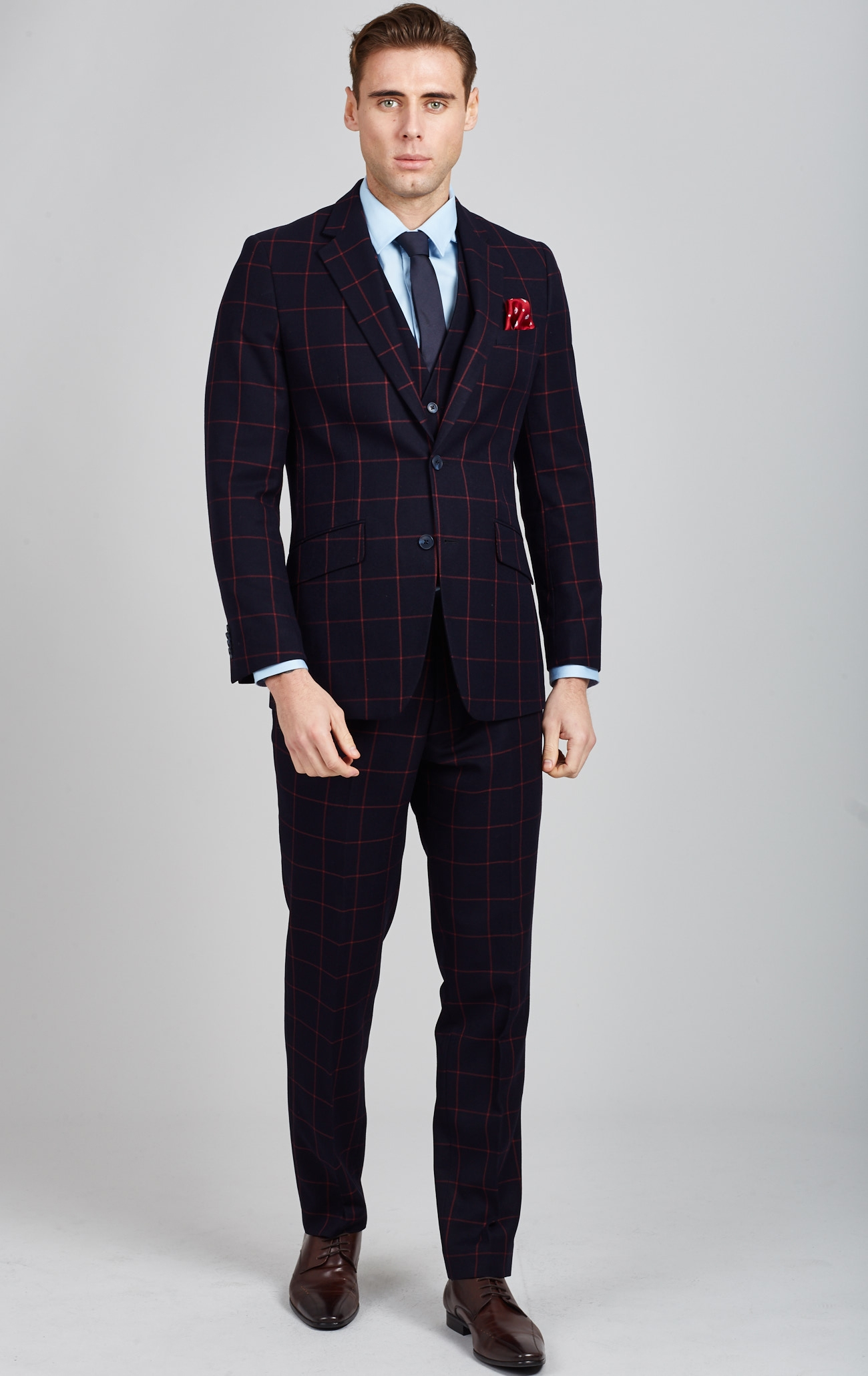 af646d5b1d99d Buy Dobell Navy with Large Red Windowpane Check Tailored Fit Suit Online